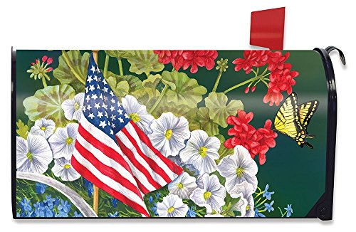 6.5 x 19 Spirit America Flowers Attractions Personalized MailWrap Mailbox Makeover Cover Outdoor Vinyl Mailbox Wrap Standard Custom Mailbox Cover Magnetic