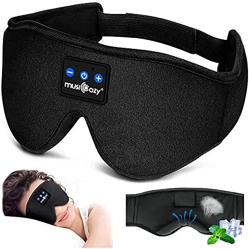 Casque de sommeil Masque pour les yeux Bluetooth, Casque de sommeil sans fil Masque pour les yeux de musique avec haut-parleurs HD ultra doux et fin Microphone, Cadeaux d'anniversaire pour hommes