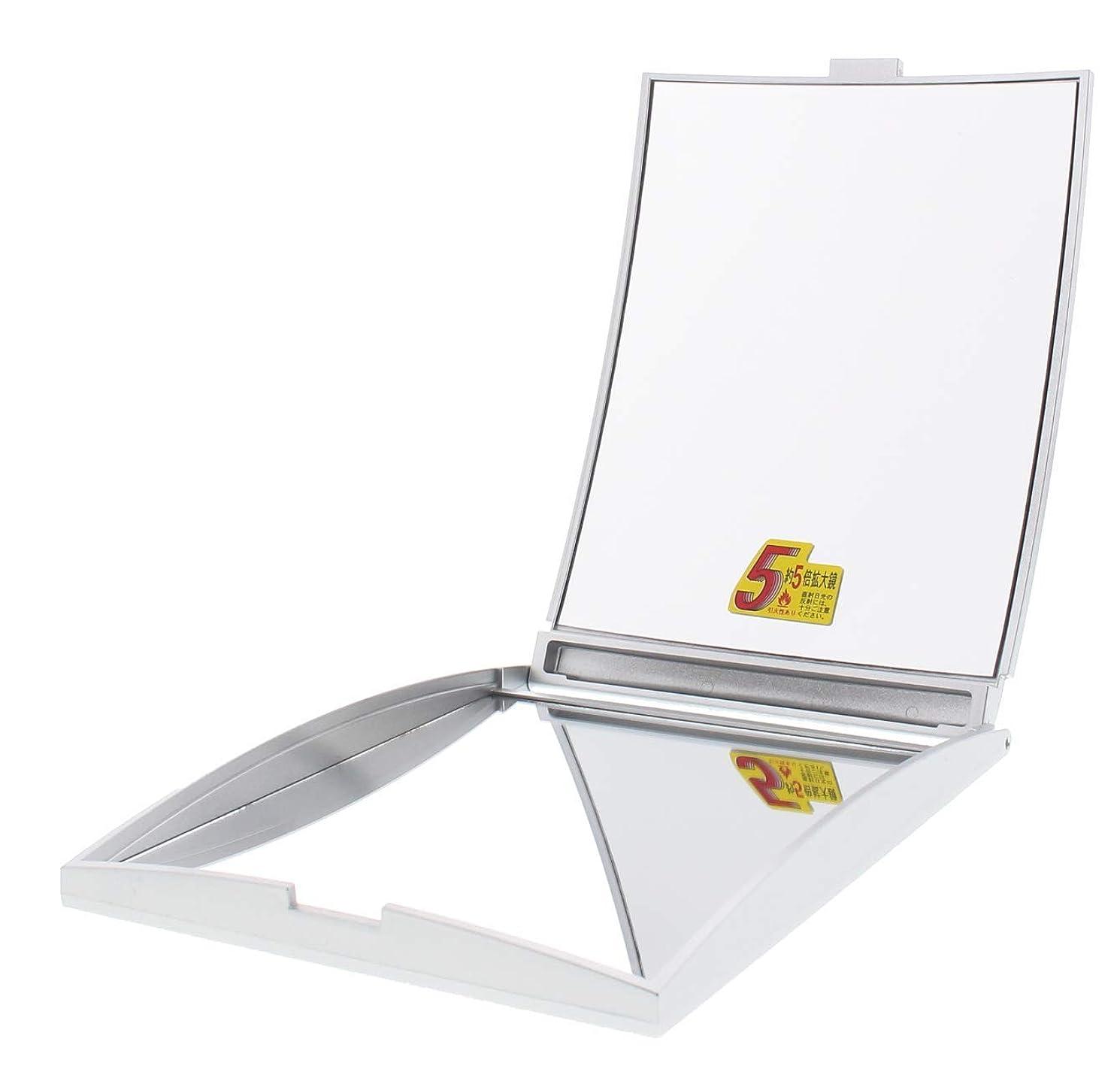 腸満州フィードメリー 片面約5倍拡大鏡付コンパクトミラー Lサイズ シルバー AD-104
