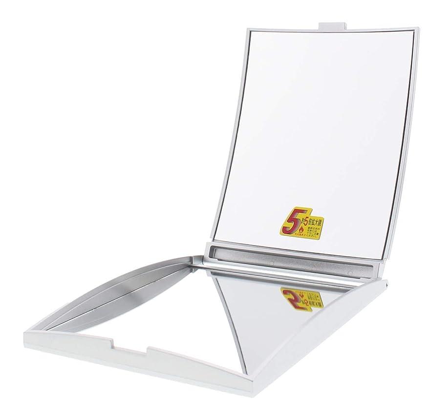 サーキュレーション信条ヨーロッパメリー 片面約5倍拡大鏡付コンパクトミラー Lサイズ シルバー AD-104