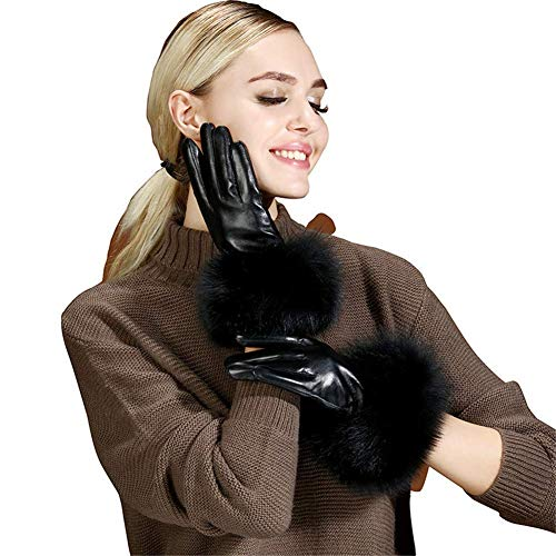 DGHJK Guantes de Cuero Negro para Mujer, Guantes de conducción de Invierno con Pantalla táctil de Piel sintética Negra de Invierno para Montar a Caballo, Senderismo, L
