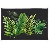Alfombra Decorativa Rectangular (40 x 60 cm), diseño Tropical, Color Verde