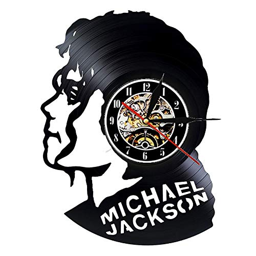 FDGFDG Schallplatte Wanduhr Modernes Design Musik Thema Pop King Michael Jackson Uhren Wanduhr Home Decor Geschenk für den Menschen