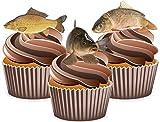 Decoraciones precortadas para tartas de carpas de pesca, comestibles (paquete de 12)