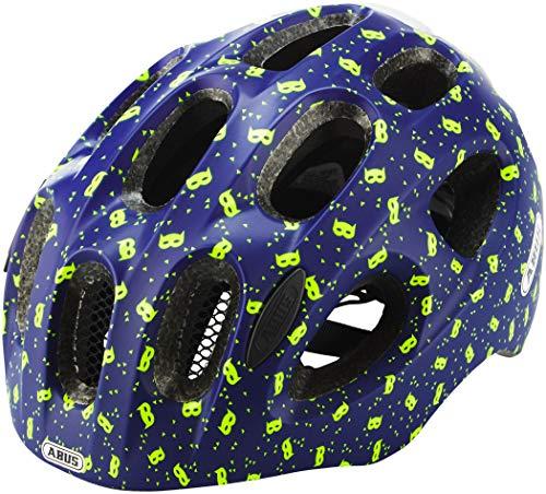 ABUS Youn-I Kinderhelm - Moderner Fahrradhelm für Kinder mit LED-Rücklicht für den Alltag - für Mädchen und Jungen - 81815 - Blau mit Masken-Muster, Größe M