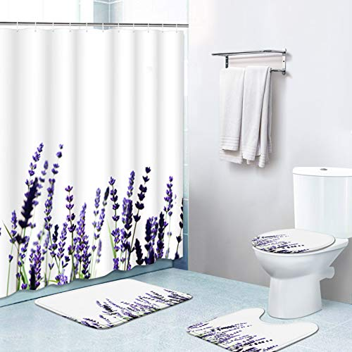 Britimes 4 Piece Shower Curtain Sets, Purple Lavenders with Non-Slip Rugs, Toilet Lid Cover and Bath Mat, Durable and Waterproof, for Bathroom Decor Set, 72' x 72'