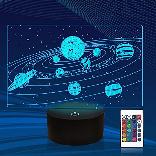 Universo 3D ilusión luz nocturna, sistema solar lámpara de cabecera con control remoto 16 colores cambiantes, novedad fresca decoración de habitación mejor festival cumpleaños niños niña niño
