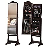 LANGRIA 6 LEDs Lockable Standing Jewelry Cabinet Full-Length Mirror Armoire and Storage Organizer with 2 Drawers, Brown