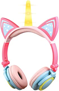 KEYMAO Unicorn Kids Headphones, Over Ear with LED Glowing Cat Ears,Safe Wired Kids Headsets 85dB Volume Limited, Food Grad...