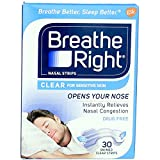 Breathe Right Nasal Strips Clear Sensitive Skin Small/Medium - 30 Strips, Pack of 4