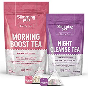 Detox Tea for Weight Loss and Belly Fat 14 Day Teatox Herbal Slim Tea for Body Detox Colon Cleanse Metabolism Increase - Lose Weight Tea 1 Morning Boost Tea  14 Bags  & 1 Night Cleanse Tea  7 Bags