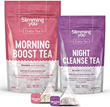 Detox Tea for Weight Loss and Belly Fat, 14 Day Teatox Herbal Slim Tea for Body Detox, Colon Cleanse, Metabolism Increase - Lose Weight Tea 1 Morning Boost Tea (14 Bags) & 1 Night Cleanse Tea (7 Bags)