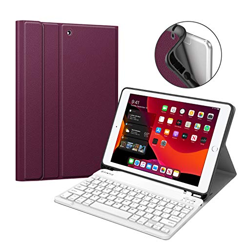 Fintie Keyboard Case for New iPad 7th Generation 10.2 Inch 2019, Soft TPU Back Stand Cover w/Built-in Pencil Holder, Magnetically Detachable Wireless Bluetooth Keyboard for iPad 10.2', Purple