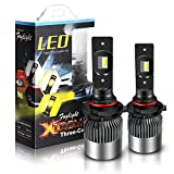TURBO SII Extremely Bright 9006/HB4 High/Low Beam Led Headlight Bulbs Fog Lamp Tir-Color All-In-One Conversion kits,6000K Cool White 4300K Incandescent 3000K Yellow Halogen HID Xenon Bulbs Replacement