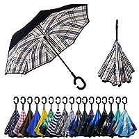 YOKITOMO 長傘 レディース 逆さ傘丈夫 撥水 内外2枚の布の構成で耐風 熱中症対策 完全遮光 遮熱効果 閉じると自立可能 晴雨兼用傘 車用(チェック)人気ギフト
