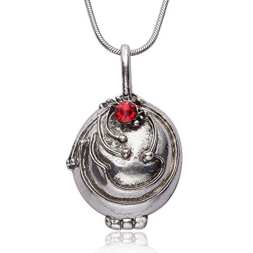 Halskette mit Medaillon, Vampir-Optik, Antik-Silber, zum Öffnen, in Geschenkbeutel