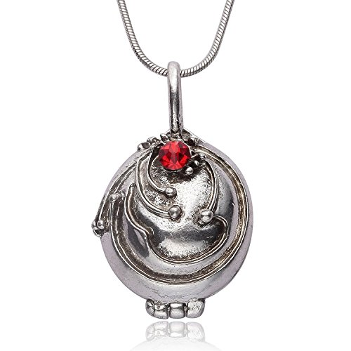 Halskette mit Medaillon, Vampir-Optik, Antik-Silber