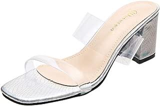 VOWAN Women's Clear Strappy Wedge Sandals PVC Transparent Block Heel Slip On Summer Dress Slides Sandal