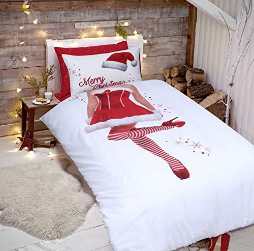 Sleepdown Kerstman Tweezijdige beddengoedset met dekbedovertrek en kussenslopen (Santa & Mrs Claus voor meisjes, eenpersoonsbed)