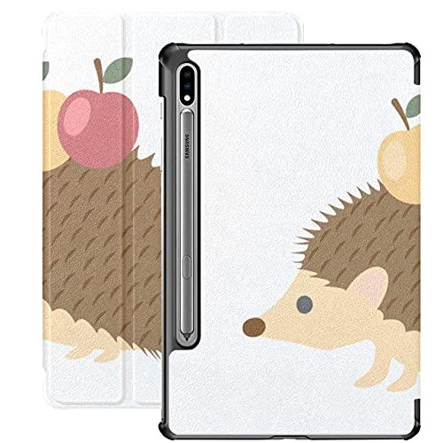 Adorable Cute Hedgehogs with Apple Samsung Galaxy Funda para Tableta para Samsung Galaxy Tab S7 / s7 Plus Funda Samsung Funda Trasera con Soporte Funda Samsung para Galaxy Tab S7 11 Pulgada