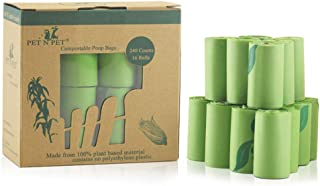 PET N PET Poop Bags Compostable Poop Bags 100% Vegetable-Based Corn Starch Biodegradable Poo Bags Unscented Dog Poop Bags Refill Rolls 240 Counts
