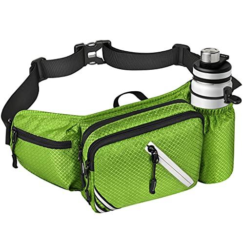 HAVISON Wandern Bauchtasche mit Flaschenhalter Gürteltasche für Damen Herren Hüfttasche für Wandern Reisen Radfahren Camping Joggen (Grün)