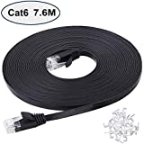 Cat 6 Ethernet Cable 7.6 m Black, Flat Gigabit High speed 250 MHZ Network Cable with clips