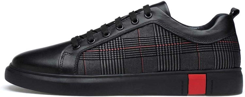 ZHRUI Men Leather shoes Luxury Autumn Original Leather Male Casual shoes (color   Black, Size   8 UK=41 EU)