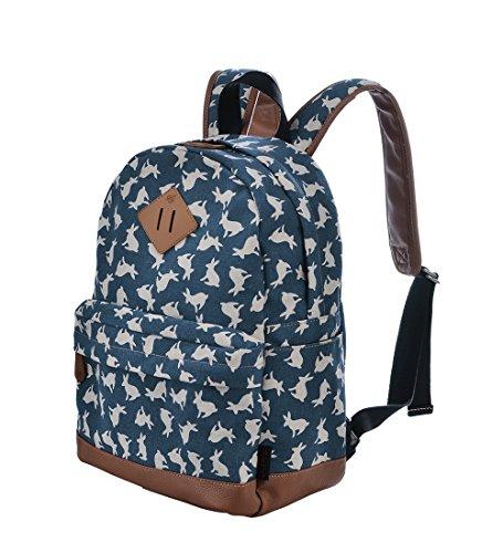 Gezu Rucksäcke Damen Schulrucksack UniTasche Vintage Rucksack und Kinderrucksäcke GZ00133 (Blauer Hase)