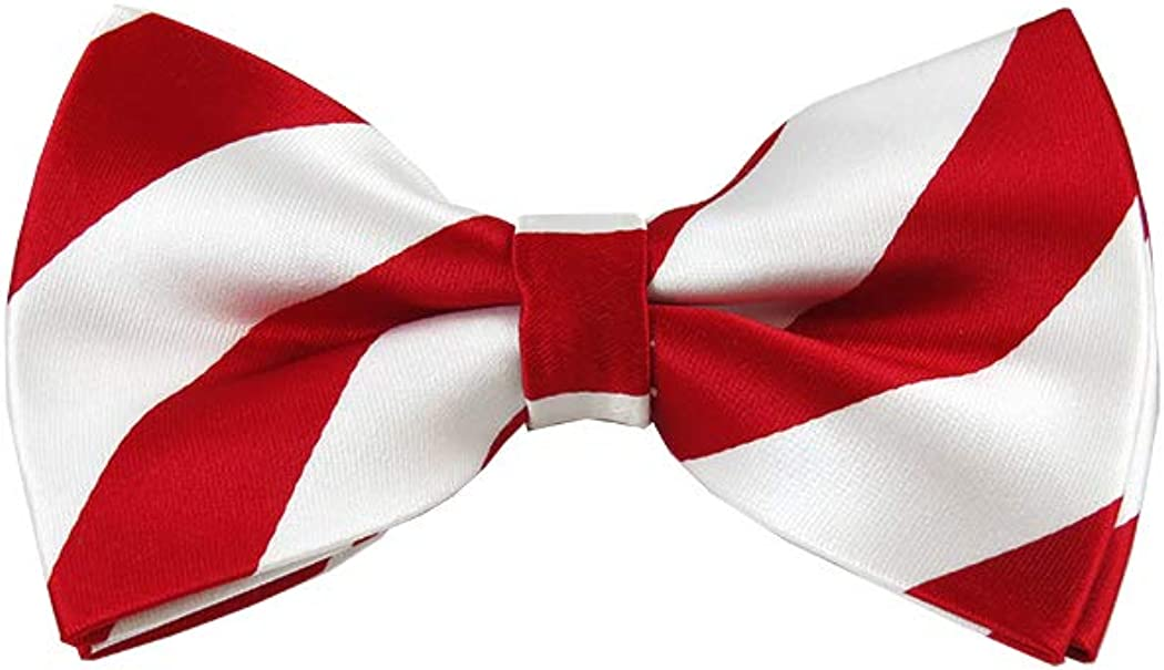 Red and White College Stripe Pre-Tied Bow Tie