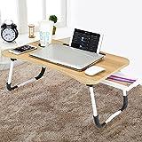 CHARMDI Lap Desk, tragbarer Laptop-Betttisch, Laptop-Schreibtisch, Couchtisch, Frühstückstisch mit faltbaren Beinen und Aufbewahrungsschublade zum Arbeiten, Schreiben, Gold