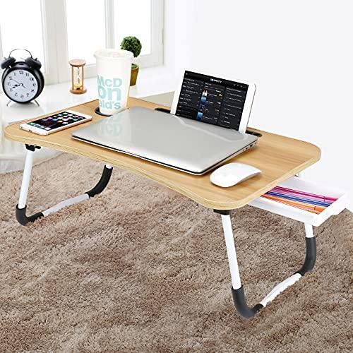 CHARMDI Laptop-Betttisch, tragbarer Laptop-Betablett, Knietisch, Couch-Tisch, Bett-Schreibtisch, Laptop-Schreibtisch mit Schublade für Bett/Sofa, goldfarben