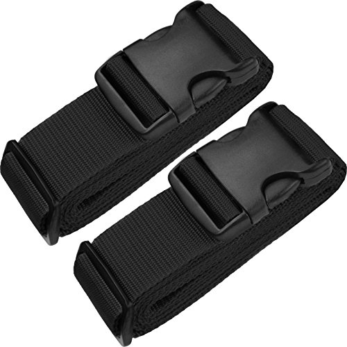 TRANVERS Luggage Straps for Suitcases Baggage Heavy Duty Adjustable 2-Pack Black