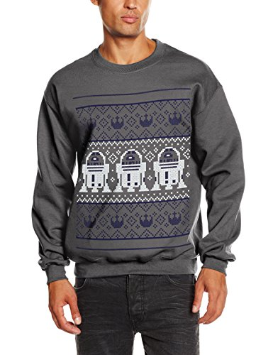 Star Wars Christmans R2D2 Knit Sweat-Shirt, Gris (Charcoal), (Taille Fabricant: Small) Homme