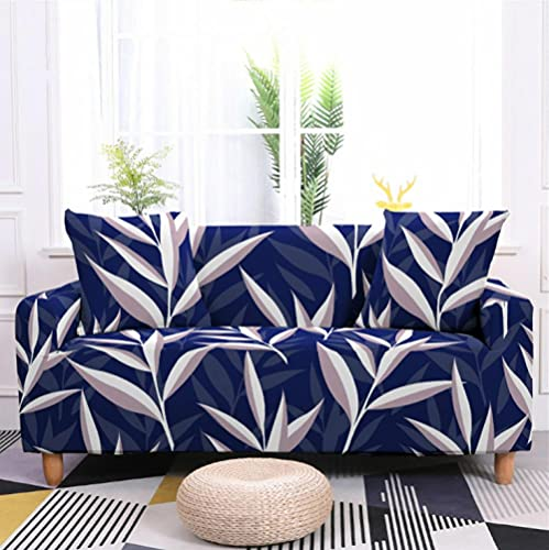 Fundas de Sofá Elastica 1 PlazasHojas Azul Violeta Funda Cubre Sofa Regalar 2 Funda de Cojines Funda para Sofá Funda de sofá de Sillón Antideslizante Protector Cubierta de Muebles
