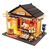 Spilay DIY Dollhouse Miniature with Wooden Furniture,Handmade Japanese Style Home Craft Model Mini Kit with Dust Cover & LED,1:24 Scale Creative Doll House Toys for Adult Teenager Gift(Grocery Store)