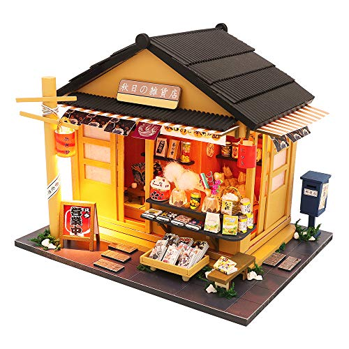 Spilay DIY Dollhouse Miniature with Wooden Furniture,Handmade Japanese Style Home Craft Model Mini Kit with Cover & LED,1:24 Scale Creative Doll House Toys for Adult Teenager Gift(Grocery Store)