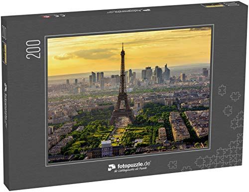 Puzzle 200 Teile Skyline von Paris mit Eiffelturm bei Sonnenuntergang in Paris, Frankreich - Klassische Puzzle, 1000/200/2000 Teile, in edler Motiv-Schachtel, Fotopuzzle-Kollektion 'Frankreich'