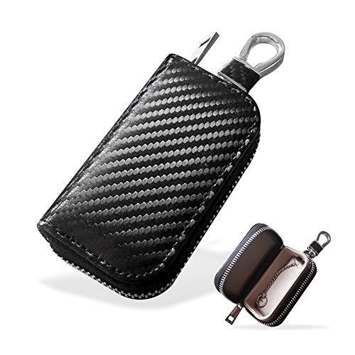 MONOJOY Faraday Tasche für Autoschlüssel, Autoschlüssel Signal Abschirmbox, RFID Diebstahlschutzbox aus Leder, Fernbedienung schlüsseletui mit Haken und Schlüsselring(kohlefaser)