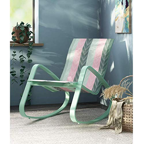 HMQ Minimalist Patio Chair Outdoor Chairs, Metal Rocking Chair Glider Rocker for Bedroom, Pool Lounge Chairs, Recliner Chair for Living Room, Orbital Lounger for Adults (Color : Green and Pink Strip)