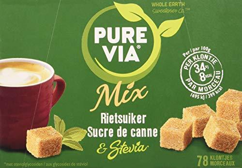 PURE VIA - boîte 78 morceaux - Sucre de Canne et Stevia - Allégé en calories