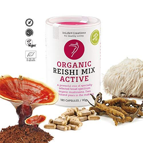 Organic Mushroom Mix 5 Complex - Active | Poria cocos, Cordyceps, Maitake, Shiitake, Reishi | Grown 100% in EU | 180 caps x 500mg | Vegan + GF | Eco Packaging | No 'Non - EU Agriculture'