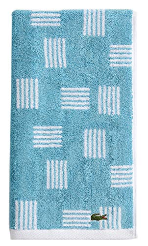 Lacoste Raster 100% Cotton Towel, 16' W x 30' L Hand, Celestial Blue