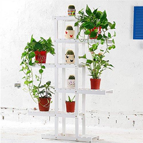 Ensemble de plantes à l'intérieur Rack à fleurs en bambou Présentoir d'étagères à balcon multi-étages ( Couleur : Blanc )