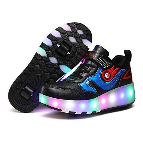 ZKHD Zapatos Unisex para niños con Patines Ruedas LED Carga USB Doble Ruedas Luminoso Formadores Zapatos Skate técnicos retráctiles Zapatillas Gimnasia Aire Libre,Black-EU30