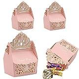 Caja de regalo de 25 piezas de dulces, cajas de corona de papel hueco, para boda, bautizo, fiesta de bienvenida al bebé, decoración de favores (rosado)