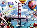Srood Paint-by-Numbers Ragazzi Soggiorno Decorazione Art Paint Set di pittura Arcobaleno e mongolfiera Capolavoro di Numeri Arte Mestiere 40X50Cm Senza Cornice