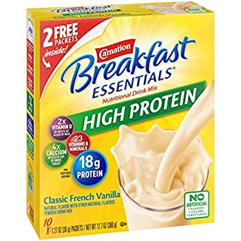 Carnation Breakfast Essentials High Protein Powder Drink Mix Classic French Vanilla 10 Packets 6 Count