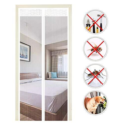EXTSUD Moustiquaire de Porte Magnétique Fermeture Automatique Rideau Porte Anti Insectes avec Aimants sans Perçage (120x220 cm, Blanc)