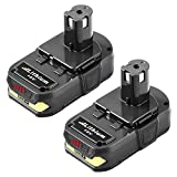 2Pack 3.0Ah P102 Battery Replacement for Ryobi 18V Lithium Battery P103 P104 P105 P107 P108 P109 P190 P191 P122 for 18V ONE+ Cordless Power Tools